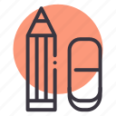 education, eraser, pencil, rubber, school, stationery, student icon