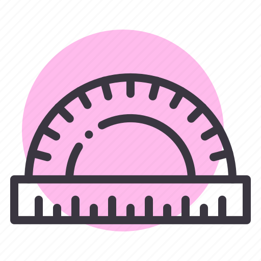 angle, drafting, geometry, measure, protractor, stationery, tool icon
