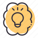 brain, bulb, discovery, idea, innovation, invention, light icon