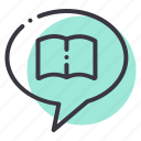 book, chat, discussion, ebook, education, forum, share icon