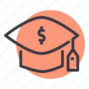 cost, degree, education, expense, graduation, mortarboard icon