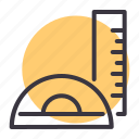 angle, draw, measure, protractor, ruler, scale, stationery icon