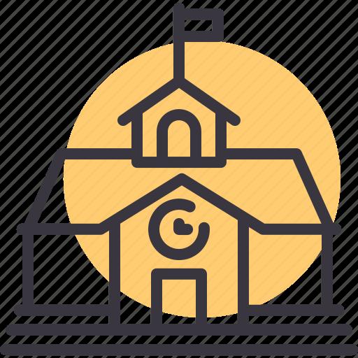 building, campus, education, institute, institution, school icon