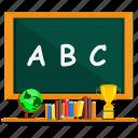 abc, blackboard, book, cup, education, green, school