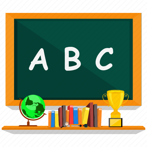 abc, blackboard, book, cup, education, green, school icon