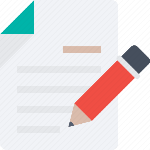 document, page, paper, pencil, text, writing icon icon