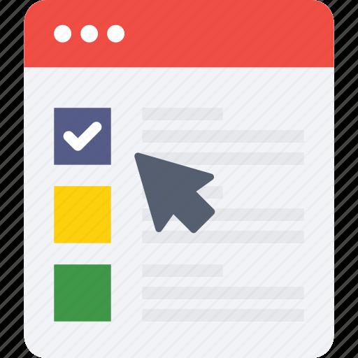 checklist, internet, online, webpage, window icon icon