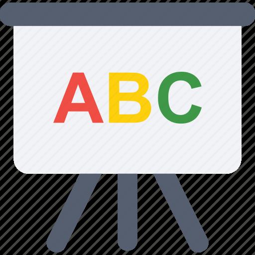 alphabets, chalkboard, english class, presentation, whiteboard icon icon