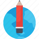 earth, edit, globe, pen, pencil, planet, world, write icon icon