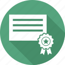 award, award badge, award ribbon, badge, document, paper, star badge icon