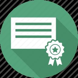 award, award badge, award ribbon, badge, document, paper, star badge icon