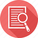 document, documents, file, paper, search icon