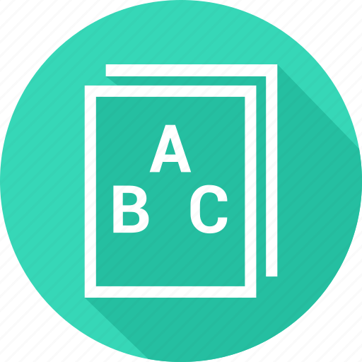 abc, author, book, library, reading icon