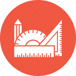 design, measure, pencil, ruler, tool, triangle icon