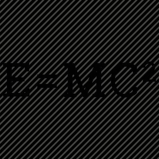 einstein formula, formula of relativity, physics, science icon