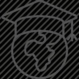 bachelor, cap, earth, globe, graduation, knowledge, universe icon
