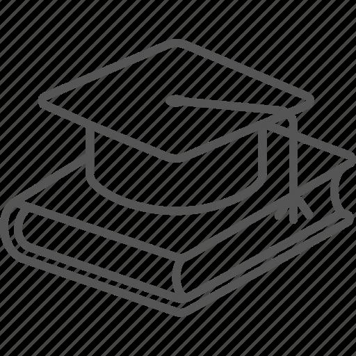 bachelor, book, cap, graduation, knowledge, school icon