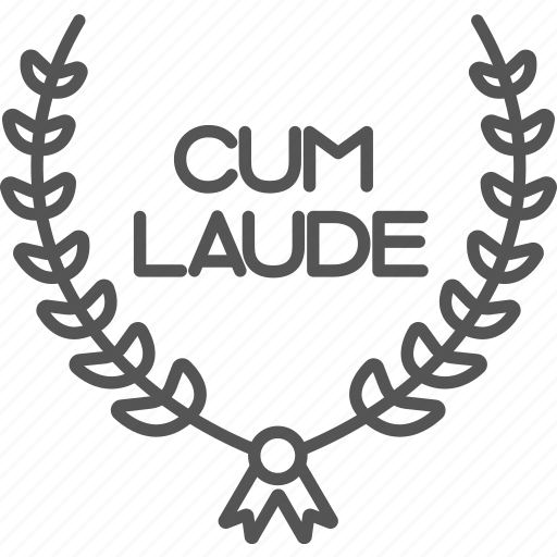 cum, diploma, graduate, laude, laurel, study, wreath icon