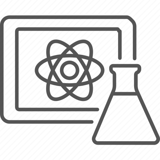 atom, chemistry, electron, experiment, flask, laboratory, physics icon