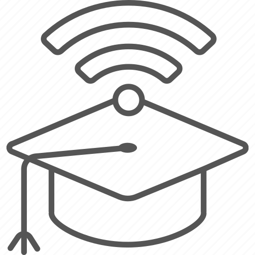 bachelor, cap, e-lerning, graduation, internet, wifi icon