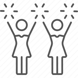 cheer, cheerleaders, performing, squad, teamwork, teenagers, uniform icon