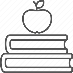 apple, books, classbook, education, learning, school, snack icon