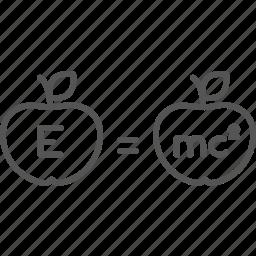 energy, formula, knowledge, mathematics, mc2, motion, physics icon