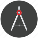 compass, drawing compass, geometry, tool icon