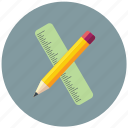 and, pencil, ruler, ruler and pencil icon