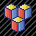 blocks, cube, tumbling icon