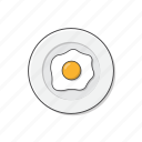 fried, egg, plate, omelette, food, cooking, eat icon