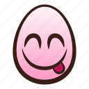 delicious, easter, egg, emoji, face, food, savouring icon