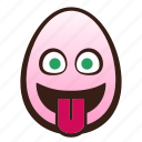 easter, egg, emoji, face, funny, tongue, with icon