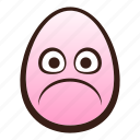easter, egg, emoji, face, frowning, funny icon