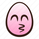 easter, egg, emoji, face, funny, kissing, smiling icon
