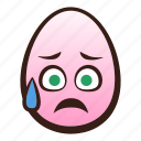 easter, egg, emoji, face, funny, relieved, sad icon