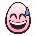 easter, egg, emoji, face, mouth, smiling, sweat icon