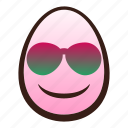 easter, egg, emoji, face, funny, smiling, sunglasses icon