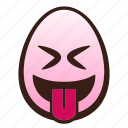 easter, egg, emoji, face, funny, squinting, tongue icon