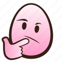 easter, egg, emoji, face, funny, thinking icon