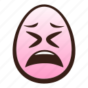 easter, egg, emoji, face, funny, tired icon