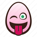 easter, egg, emoji, face, funny, tongue, winking icon