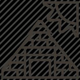 egypt, egyptian, landmark, pyramid, sun icon
