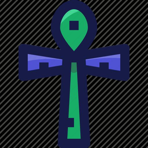 ankh, cross, crux, egypt, egyptian, life, religion icon