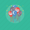eid balloons, eid celebration, eid decoration, eid greetings, garlands icon