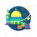 celebration, eid, gift, islam, mosque, mubarak, religion icon
