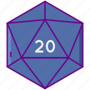 d20, dice, dragons, dungeons icon