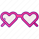 80s, glasses, heart, love icon