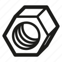 nut, threaded, hex, fitting icon