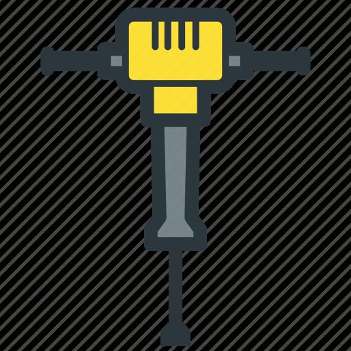 construction, jackhammer, power tool, road repair icon